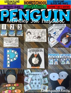Penguin Activities, Math and Literacy Centers and Crafts for Preschool and Kindergarten will be the perfect winter unit for your class.  Day by Day lesson plans are included!