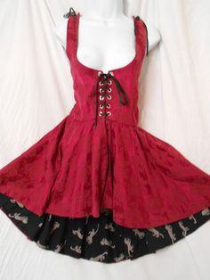REVERSIBLE Corset LACE UP Fit Flare PEPLUM BROCADE/GRAPHIC ART Mini Dress #Ebay#dress#festive