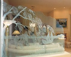 Ever considered Glass Etching for a Unique Interior Design? Take a look at some of these interior Glass Wall Etchings to inspire you next interior project. Glass Partition Wall, Partition Screen, Glass Room Divider, Partition Design, Partition Ideas, Room Dividers, Diy Design, Novo Design, Design Ideas