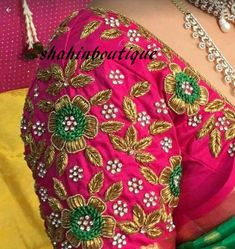 This Lovely Rani Pink Designer Wedding Saree Blouse with full Floral Zardosi work is just one of the custom, handmade pieces you'll find in our women's clothing shops. Cutwork Blouse Designs, Best Blouse Designs, Wedding Saree Blouse Designs, Pattu Saree Blouse Designs, Embroidery Neck Designs, Blouse Neck Designs, Hand Embroidery, Peacock Blouse Designs, Choli Designs