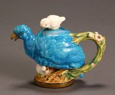 Moore Brothers Majolica 'Quail & Chick' Teapot Re : Lot 1217
