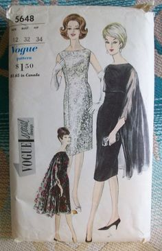 VOGUE Vintage Special Design Pattern 5648 Cocktail Dress Cape Stole Size 12 Cut