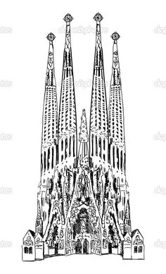 La Sagrada Familia Coloring Sketch Coloring Page Fashion Illustration Sketches, Illustrations, Art Sketches, 3d Pen Stencils, Antonio Gaudi, Barcelona Tattoo, Bestie Tattoo, Black And White Sketches, Diy Art Projects