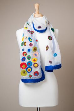 Hey, I found this really awesome Etsy listing at https://www.etsy.com/listing/163387897/reduced-felted-scarf-polka-dot-white