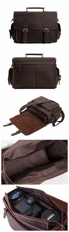 Dark Brown Leather Messenger Bag for Photographers, Travelers & Diaper Bag for Mother