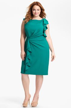 Free shipping and returns on Adrianna Papell Ruffled Sheath Dress (Plus) at Nordstrom.com. Plush ruffles grace one shoulder and drape the pencil skirt of a cap-sleeve sheath dress cut from matte crepe and side-ruched at the waist.
