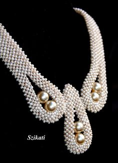 Beige Pearl/Seed Bead Necklace Elegant Statement by Szikati