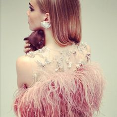 pink + feathers + puppy = dream come true