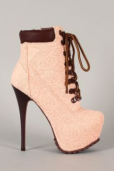 Make a gorgeous statement when you step out in these fabulous booties! Featuring crochet overlay upper, almond toe, lace up front closure, stitching detail, hidden platform, stacked stiletto heel