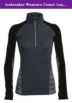 Icebreaker Merino Womens Comet Long Sleeve Half Zip Impulse Print Hoodie Jet HeatherBlackSnow Medium -- Find out more about the great product at the image link. (This is an affiliate link) Fashion Over 40, Fashion 2017, Sports Shirts, T Shirts, Icebreaker, Half Zip Pullover, Oversized Shirt, Tee Dress, Heather Black