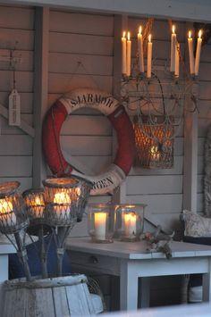 Everything Coastal.: A Life Preserver? 9 Ideas for Coastal Decorating! Coastal Cottage, Coastal Homes, Coastal Style, Coastal Decor, Cottage Porch, Coastal Living, Life Preserver, Beach Bars, Beach Cottages