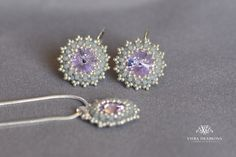 Items similar to Purple / Lila - set of earrings (rhodium hooks) and pendant on silver plated snake chain - made with Swarovski crystal elements on Etsy Handmade Jewelry, Unique Jewelry, Handmade Gifts, Silver Plate, Swarovski Crystals, Snake, Stud Earrings, Chain, Trending Outfits