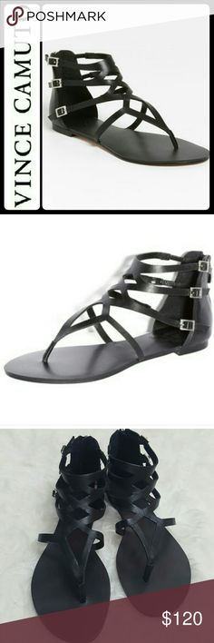 Vince Camuto Leather Gladiator Sandals NEW Vince Camuto Signature Shoes in Classic Elegance of Black! Features Leather Upper Gladiator Style Flat Sandals! An Angular Cut Modernizes a Flat Fisherman Sandal with a Crisp, Clean Silhouette!  Intricate Details Include Back Zip and Adjustable Straps  with Buckle Closure! Silver Tone Hardware Adds Class to This Sexy Gladiators! Size 7M, NEW! Vince Camuto Shoes Flats & Loafers