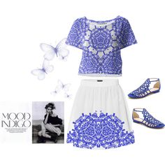 Cool Indigo Blue And White, Sweet! by flisty on Polyvore featuring Alexandre Birman, vintage, summertrends, indigo and paom