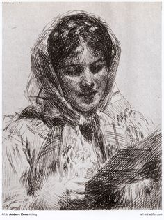 Anders Zorn etching of a woman - 1860-1920. Longer pen strokes can capture the structure and shapes of light and darkness