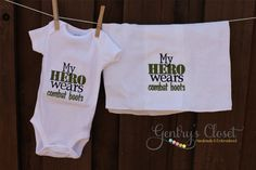 Baby Girl or Boy Onesie - My Hero Wears Combat Boots - Embroidered Infant Bodysuit Outfit. Soldier, Military. Handmade. $18.00, via Etsy.