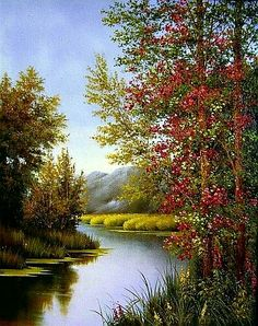 Ideas for landscape paintings inspiration Watercolor Landscape, Landscape Art, Landscape Paintings, Watercolor Art, Nature Paintings, Beautiful Paintings, Beautiful Landscapes, Pictures To Paint, Nature Pictures