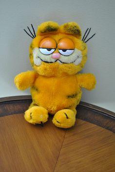 "Vintage 1970s Orange GARFIELD the Cat Cartoon 10"" Stuffed Animal Plush Toy via Etsy"