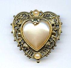 Vtg 1928 Heart Faux Pearl Cab Lacy Gold Tone Brooch Pin Mothers Day #1928
