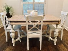 We Got a New Breakfast Table. Raw Wood Furniture, Farmhouse Furniture, Farmhouse Table, Furniture Making, Dining Chairs, Dining Table, Chair Pictures, Diy Chair, Home Decor Styles