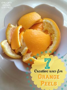 Don't just throw out those orange peels after eating that yummy orange! Here are some great ways to get another use out of them! #diy