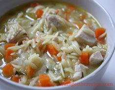 Chicken Soup with Orzo (can easily substitute some ingredients and make into a vegan dish)