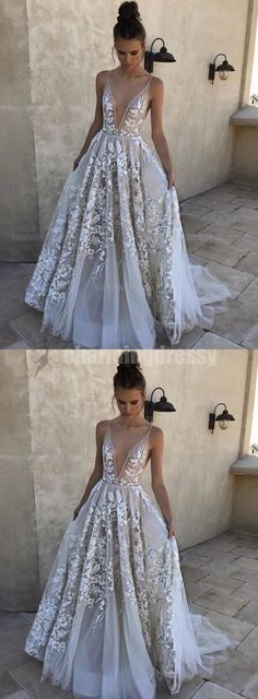 Lace Unique Design Pretty Deep Neck Long Party Prom Dresses, Evening dresses for 2018 prom, PD0455