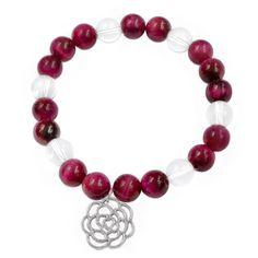 Náramek MAGICAL Náramek z růžového tygřího oka (magenta) a křišťálu s přívěškem rozkvetlé růže. Beaded Necklace, Jewelry, Beaded Collar, Jewlery, Pearl Necklace, Jewerly, Schmuck, Beaded Necklaces, Jewels