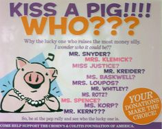 Kiss the Pig Fundraiser. Very cool, but slightly disgusting :-), idea!