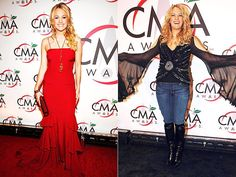 2005 It's hard to believe these two photos are from the same evening. But Carrie Underwood proves that she's versatile when it comes to style, donning a ruffled gown one moment and dressing up as a Stevie Nicks impersonator the next. Carrie Underwood Cma, Macy Gray, Grey Artist, Cma Awards, Stevie Nicks, Look At Me, Carry On, Dress Up, Things To Come