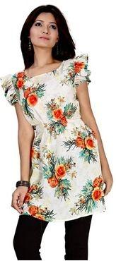 Roposo.com - Latest ruffle printed round-neck tunics online kurtiz office wear flutter top