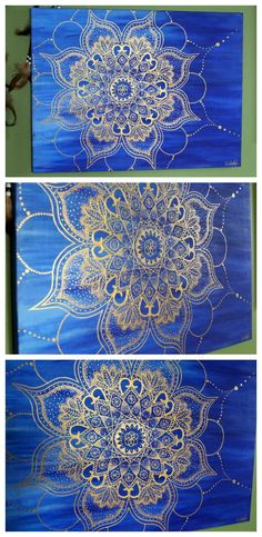 "Gold and Blue Mandala Painting on 18x24"" Mounted Canvas $79  https://www.etsy.com/listing/229879785/mandala-painting-gold-and-blue-18-x-24in?ref=shop_home_feat_2"