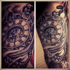 """@carlgracetattoos's photo: """"A little fresh and healed pic of this skull clock piece done over a year ago. #seveninchminimum"""":"""
