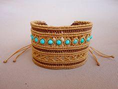 "macrame cuff bracelet with turquoise howlite beads - ""Innocence"" Macrame Knots, Macrame Jewelry, Macrame Bracelets, Cuff Bracelets, Micro Macramé, Macrame Bracelet Tutorial, Expensive Gifts, How To Make Tea, Macrame Patterns"