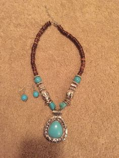 "22""-24""adjustable wood beaded necklace with turquoise ball earings More"