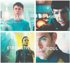 Star Trek Into Darkness - Bones (Heart), Spock (Mind), Uhura (Streght), Kirk (Soul)