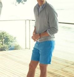 Casual spring style - Quarter zip sweater and twill shorts
