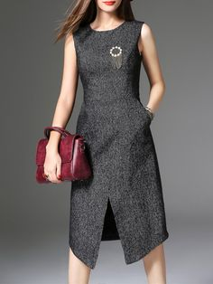 Dark Grey Pockets Asymmetric Dress
