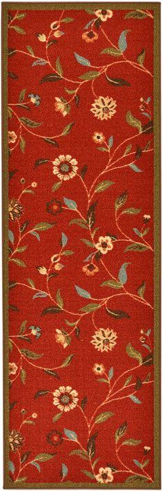 "Amazon.com - Ottohome Collection Dark Red Floral Garden Design Modern Runner Rug With Non-Skid (Non-Slip) Rubber Backing (20""X59"") - Area Rugs 19.99"