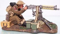 World War II British Army FOB025 Vickers Machine Gun set - Made by King and Country Military Miniatures and Models. Factory made, hand assembled, painted and boxed in a padded decorative box. Excellent gift for the enthusiast.