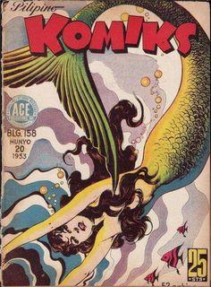 Cover for Pilipino Komiks series) Filipino Art, Filipino Culture, Vintage Mermaid, Mermaid Art, Mermaid Lagoon, Fantasy Creatures, Sea Creatures, Tarot, Philippine Art