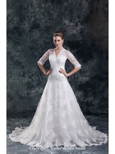 Lace V-Neck Neckline Sweep Train A-line Half-Sleeves Wedding Dress