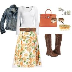 """down east basics"" a more complete outfit with downeast basics floral skirt. I'm pinning for a chance to win the Fall Back to Basics with DownEast Basics Sweepstakes!"