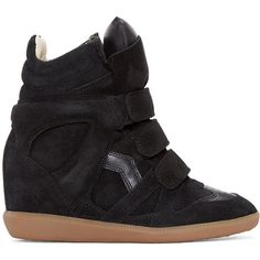 Isabel Marant Black Suede Bekett Wedge Sneakers ($540) ❤ liked on Polyvore featuring shoes, sneakers, black, high top wedge sneakers, hi top wedge sneakers, velcro high-top sneakers, velcro sneakers and suede sneakers