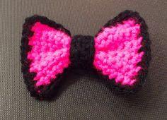 Handmade Crocheted bow tie hair clip bowtie neon pink black yarn half-double crochet hair barrette  by KeepaCap on Etsy