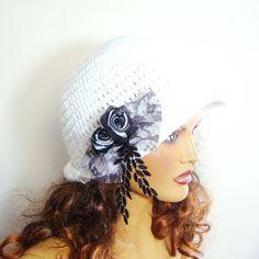 White Woman Hat Handmade Beanie Women Beret  White by RoseAndKnit