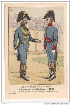 Personnel des Hopitaux 1805 Médecin professeur et élève chirurgien grande tenue
