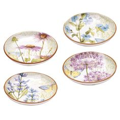 Certified International Hand-painted Herb Garden 8.5-inch Assorted Soup/Pasta Bowls