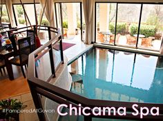 """The award-winning Chicama Country Spa at Glenburn Lodge, in the heart of the Cradle of Humankind, is located in tranquil, scenic and calming surroundings with spectacular views from every angle. Our """"Vineyard"""" theme and décor is complemented with the use of Theravine products. #PamperedAtGuvon #atGuvon #indoorpool In The Heart, Calming, Vineyard, Spa, Country, Outdoor Decor, Home Decor, Products, Decoration Home"""