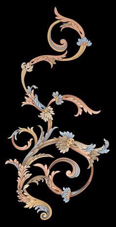 Baroque Pattern, Baroque Design, Pattern Art, Geometric Flower, Abstract Flowers, Egypt Jewelry, Flower Art Drawing, Ornament Drawing, Art Nouveau Illustration